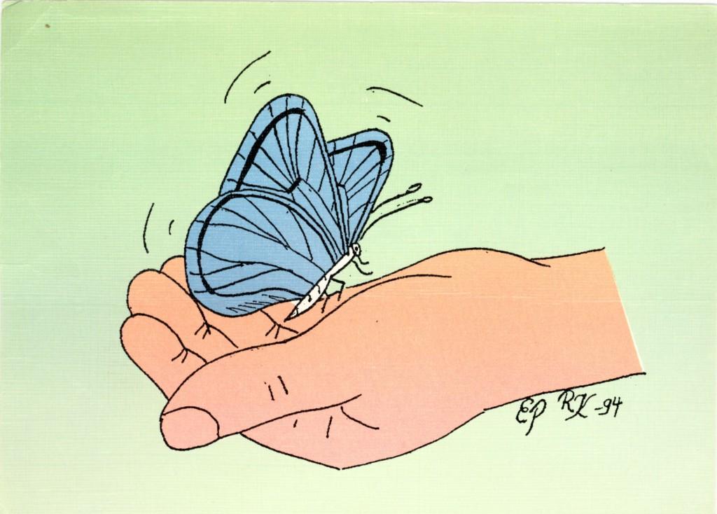 """Vielä 1994 -97 Poikamiespankki –idea herätettiin henkiin yritteliään Kristian de Heijn johdolla, jolloin markkinoitiin Poikamiespankki-linja-autolla ympäri Suomea mm. sumialaisia varsin ainutlaatuisia käsitöitä (mm. Esa Ohvon) ja välitettiin korttien lisäksi  siis  senssiosoitteita.  Poikamiespankki-ideaan ilmeisesti ainoa liittyvä postikortti on tämän lempeä  perhonen, joka on lähdössä  """"kukkia  katsomaan"""" - kortti, jonka ovat piirtäneet Eila Pesonen ja  Raija Kangasaho.  Keijo Häkkinen oli jälleen se henkilö joka hoiti kortin painatuksen.  Kortteja lienee on paljon talletettu, mutta ne ovat hajallaan ympäri maata ja siksi hyvin vaikeita löytää tai hankkia."""