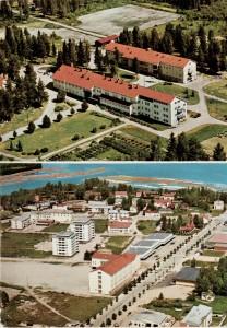 Karhumäen 2-osaisen kortin yläkuvassa näkyy vuonna 1957 valmistuneen toisen 128-paikkaisen sairaalarakennuksen lisäksi kovasti hoidettu puutarha ja tilan peltoja. Tallilan tilan Timo-hevonen muuten jatkoi työtään entiseen tapaan, vaikka omistaja ja isäntä vaihtui.