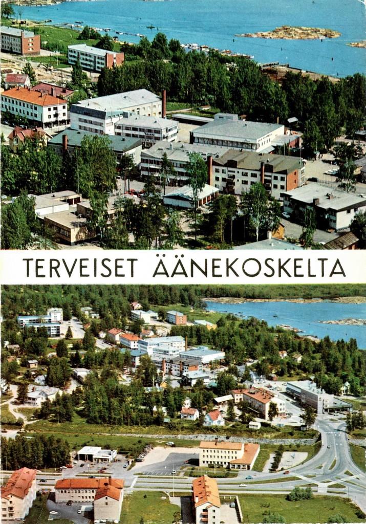 Vuonna 1971 Karhumäki Oy teetti tällaisen kaksiosaisen ilmakuvakortin (Karhumäki nro 3929-3931), joka on varsin yleinen, mutta tämänpäivän äänekoskelaista puhutteleva. Nykyinen Äänekoski on pitkälti muodostunut kauppaliikkeineen ja vanhat asuintalot sekä puiset liiketalot kadonneet. Kuitenkaan nykyistä toria ei näy, Väinämönkadun kerrostalot ovat vielä vähissä, Työski ja Osuuskaupan kivitalot vielä paikallaan. Seurakuntatalo on jo, mutta uuteen kaupungintaloon vielä pitkä matka, sillä Wessmanin kauppa ja muu koskenniskan männikkö on paikallaan. Laivarannasta pääsee vielä hetken aikaa Tammelinin kulmaan. Tukkilautat ovat vähissä eikä Ääneniemessä näy taloja. Eikä Äänekoskentietä ole.