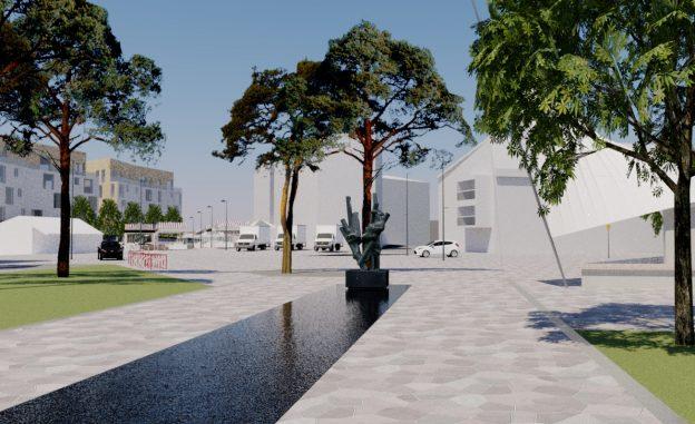 Tukkipuu ui -patsaan ympäristö voi näyttää tulevaisuudessa tältä.