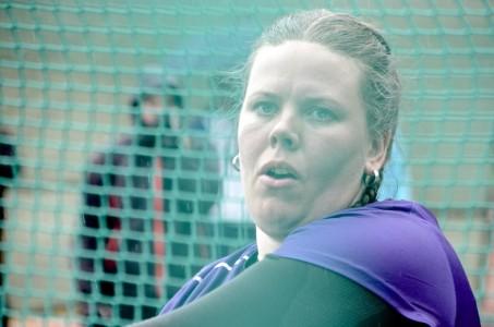 Merja Korpela heitti Äänekoski Gamesissa kauden kotimaisen kärkituloksen moukarissa.