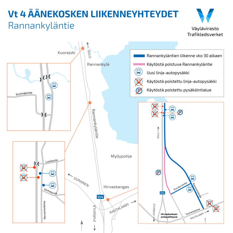 Vt 4 Äänekosken liikenneyhteydet: Rannankyläntien uusi osuus liikenteelle Hirvaskankaalla