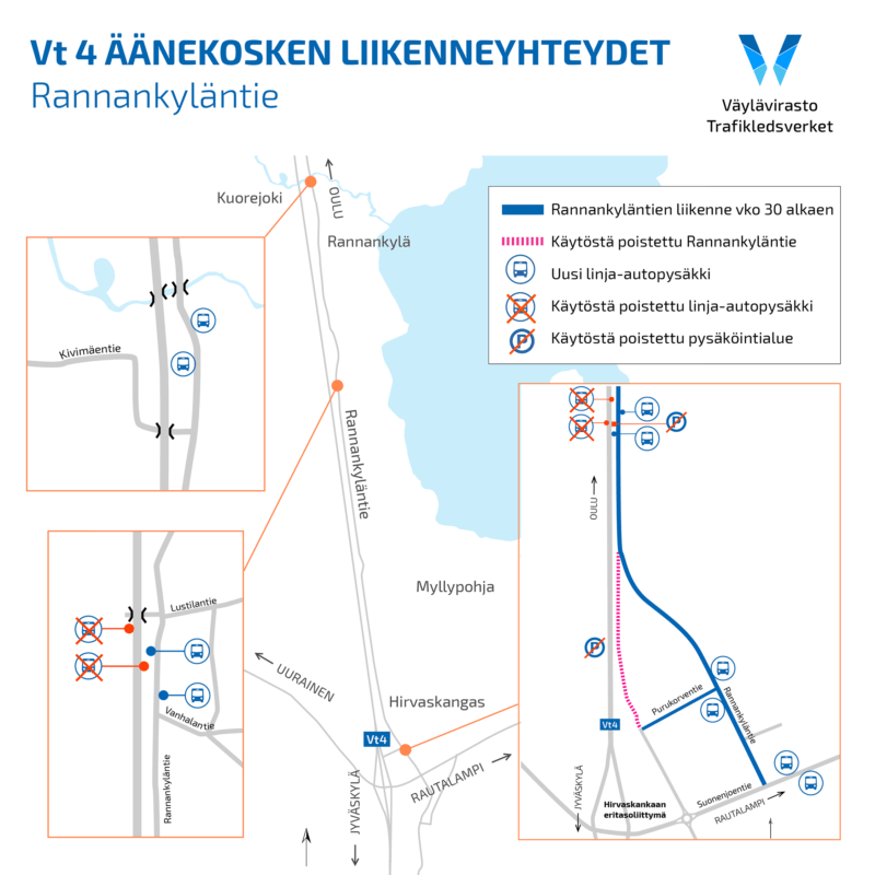 Vt 4 Äänekosken liikenneyhteydet: Linja-autopysäkit siirtyvät valtatieltä 4 Rannankyläntielle koulujen alkaessa