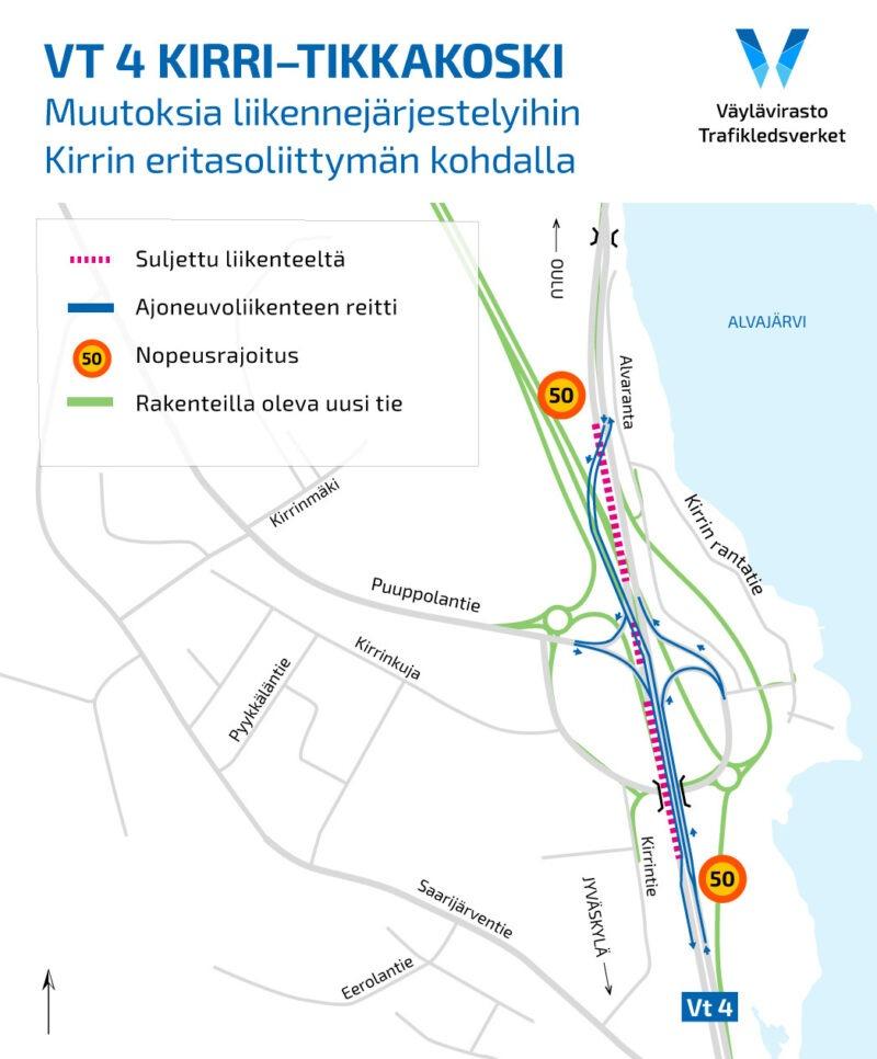 Vt4 Kirri-Tikkakoski: Valtatie 4:n liikennejärjestelyt muuttuvat Kirrin eritasoliittymän kohdalla 21. lokakuuta